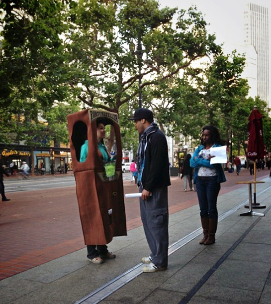 The Stanford students used prototypes and catalytic props to engage Market Street users to evaluate how willing people are to play, socialize and interact with other citizens and their city in new ways.