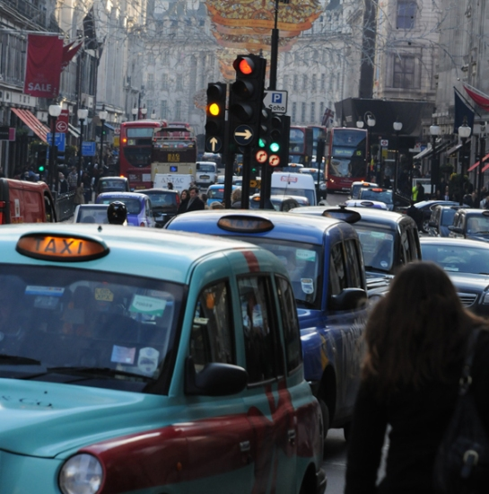 Most of Nitrogen Dioxide (NO2) emissions on Regent Street come from diesel powered vehicles, such as buses and taxis.