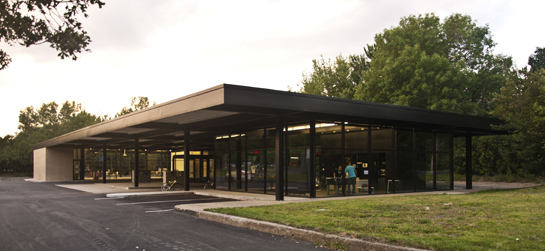 Ludwig Mies van der Rohe's Nun's Island Gas Station (1969), converted to a Community Center and reopened in 2012.